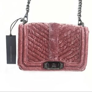 Rebecca Minkoff velvet quilted Love crossbody bag